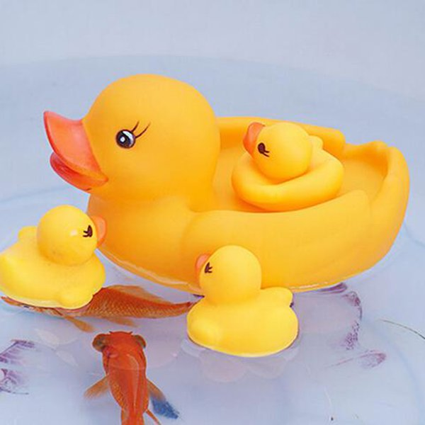 4Pc/Set Bath Toys Shower Water Floating Squeaky Yellow Rubber Ducks Baby Toys Water Toys Brinquedos For Bathroom