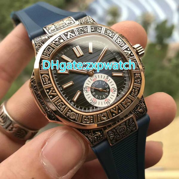 Reloj de lujo de alta calidad tallado, caja de oro rosa, correa de caucho azul movimiento automático 41mm reloj de pulsera de cristal para hombre relojes