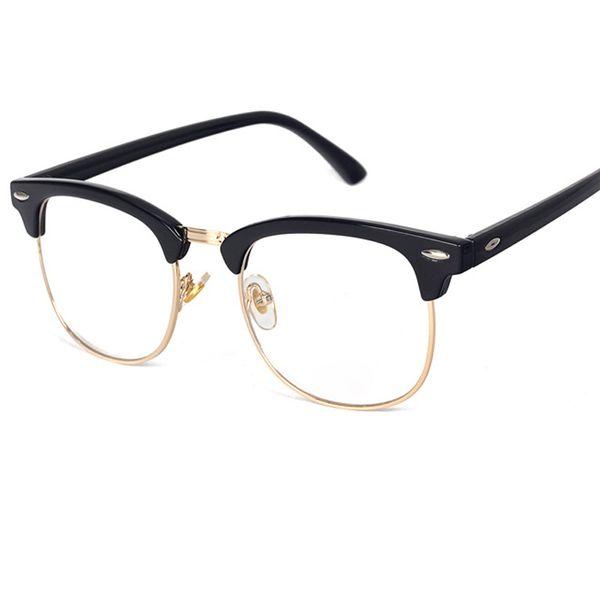top popular New Alloy Half Frame Rivet Computer Goggles Anti Radiation-resistant Clear Fashion Optical Eye Glasses Frame UV400 Y170 2019