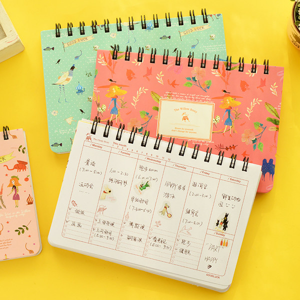 top popular Wholesale-4 pcs Lot Flower notebook Coil spiral planner Weekly agenda diary book stationery papelaria Material escolar Office supply F858 2020