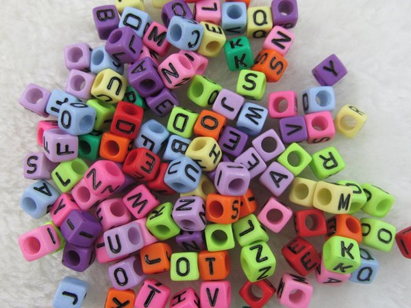 Hot ! 250 pcs Mixed black bead mixed Alphabet /Letter Acrylic Cube Beads 6x6mm Big hole bead