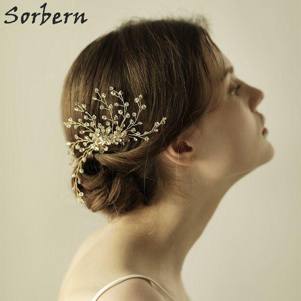 Sorbern Brautjungfer Headpieces Braut Creme Kristalle Floral Hair Combs Haarnadeln Hochzeit Haarschmuck Handmade Veil Haarschmuck