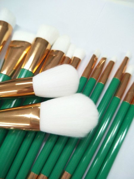 15pcs/kits Make Up Tools Brushes Cosmetics Make Up Brush White And Green Set Drop Shipping Free Shipping