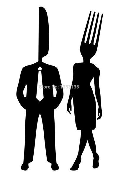 Wholesale 20pcs/lot Automobile Motorcycle Vinyl Decal Car Glass window Windshield Bumper Door SUV Auto Stickers Man As Knife Woman As Fork