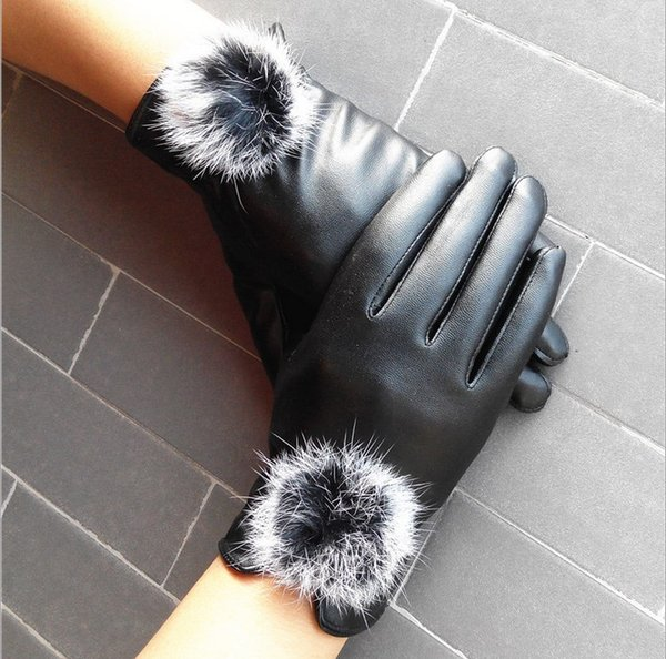 3 colores de invierno cálido manoplas mujeres de cuero de PU pelotas de piel de conejo guantes femeninos muñeca causal suave cubierto dedos guantes de fitness de terciopelo