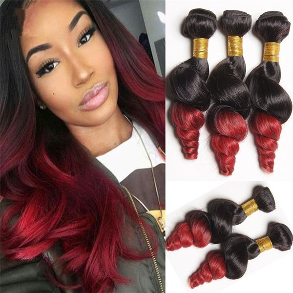 Dark Root 1B Red Loose Wave Ombre Hair Extension 3 Pcs/Lot Double Wefted Brazilian Loose Curly Ombre Hair Bundles For Black Woman