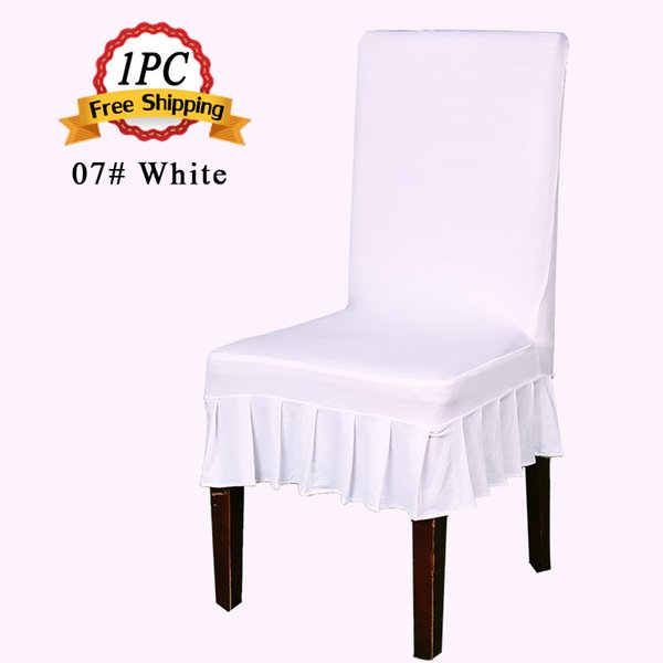 2016 New 1PC Universal Polyester Spandex Lycra Pleated Chair Cover Skirt for Wedding Banquet Party Event Hotel Decor Slipcovers