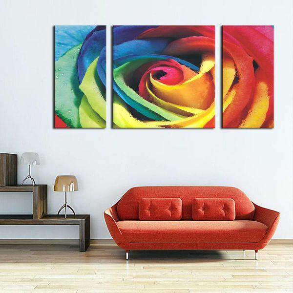 Rouge Grand Coloré Rose Mur Art Peinture Images Imprimer Sur Toile Fleur La Photo Pour La Maison Moderne Décoration