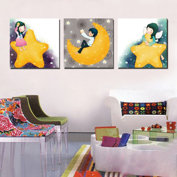 Free Shipping 3 Pieces unframed art picture Canvas Prints Cartoon star moon Boys girl dog Lotus leaf penguin fish leaf bird Flower tea petal