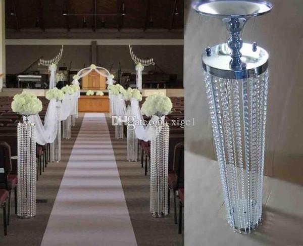 chandelier de mariage / or / argent métal cristal pilier centre de table titulaire de la fleur / 6pcs / lot centre de table cristal de mariage pour fête