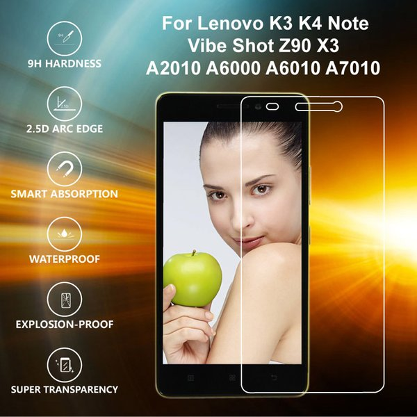 Wholesale-Original IST  Tempered Glass For Lenovo K3 K4 K5 Note Vibe Shot Z90 A2010 A6000 A6010 Plus A7010 X3 Screen Protector Film