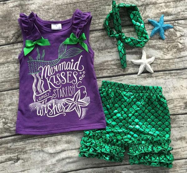 2018 meninas roupas roxo escala verde sereia boutique conjuntos curtos estrela do mar crianças verão roupas sem mangas roupas com arco set