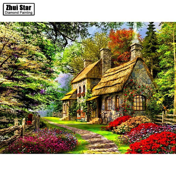 "top popular Full Drill Square Diamond 5D DIY Diamond Painting""Flowers and houses""Diamond Embroidery Cross Stitch Rhinestone Mosaic Painting 2021"