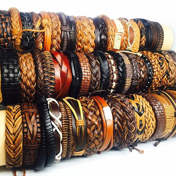 best selling wholesale bulk lots 50pcs pack mix black brown men's women's retro handmade real leather surfer cuff bracelets