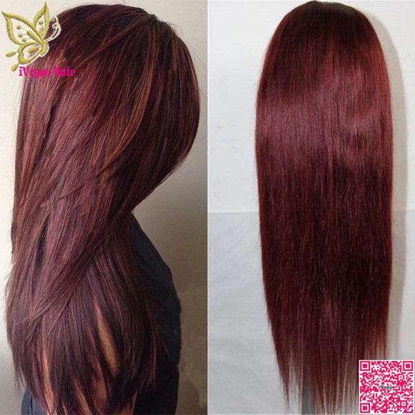 Burgundy Lace Front Wig Brazilian Human Hair Silky Straight Full Lace Wig For Balck Women Lace Front Human Hair Wigs #99J