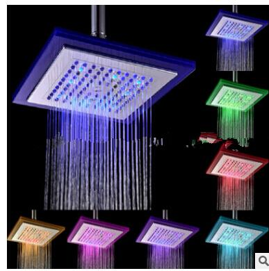 "Diameter 8"" inch 20cm RGB LED light Stainless Steel Rainfall Rain Bathroom Shower Head,Water Saving Rainfall Bathroom"