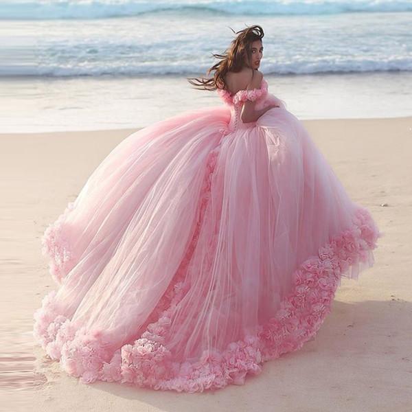 Vestidos De Casamento Rosa Romântico Princesa Vestidos De Baile 3D-Floral Apliques Big Puffy Modest Vestido De Noiva Manga Curta Plus Size Vestido De Noiva Barato