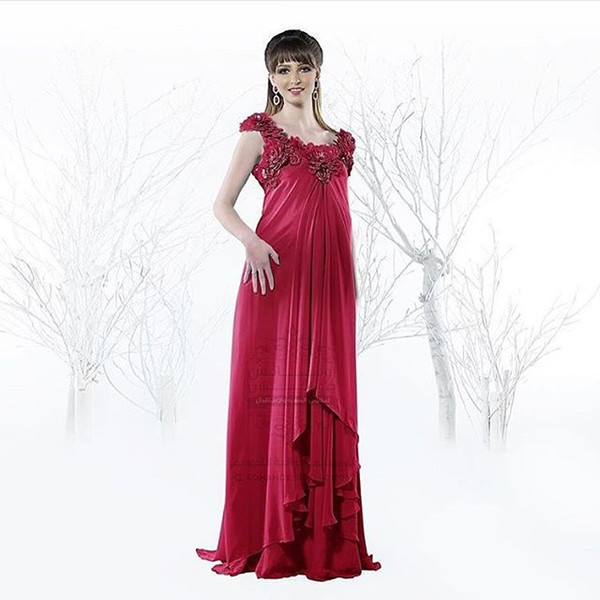 2016 Red Plus Size Maternity Chiffon Evening Dresses With Appliques ...