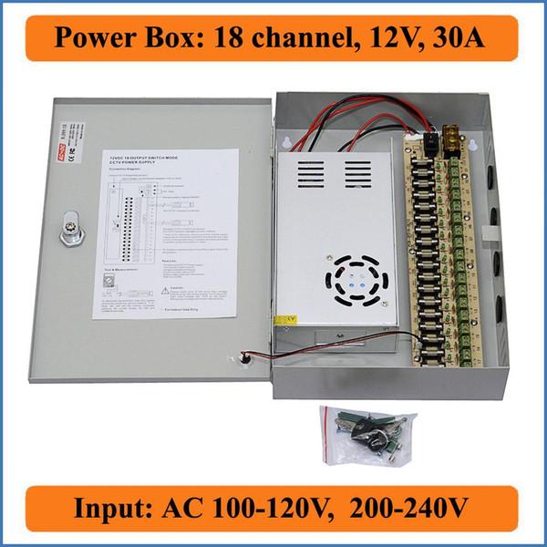 18 channels DC12V 30A CCTV Camera Power Box IR Illuminator Control for DVR CCTV Cameras switching Power Supply Box 18CH Port 30A