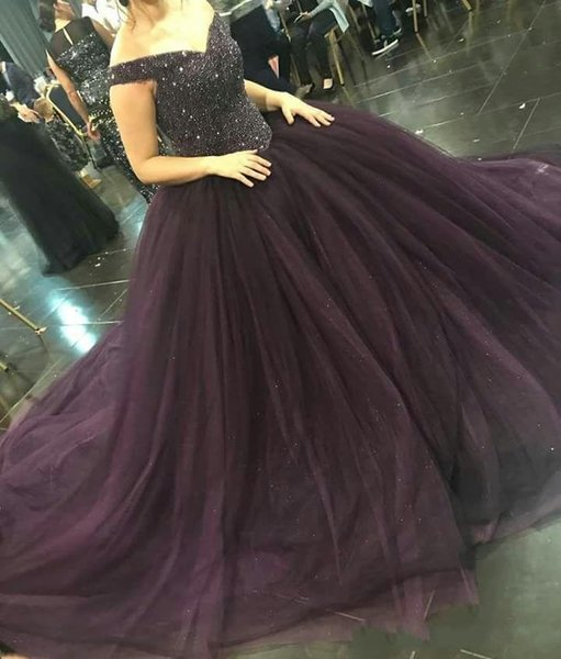 Plus Size Sparkly Sequin Beaded Formal Pageant Dress For Women Dark Purple  Ball Gown Tulle Puffy Prom Dresses Custom Evening Gowns Prom Dresses For ...