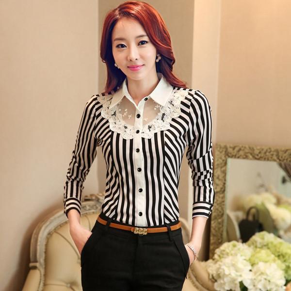 74a2365b0 Mulheres de trabalho profissional primavera outono verão 2016 nova manga  comprida camisa gola camisa de Slim Stretch Lace Stripe Formal Blusa camisas