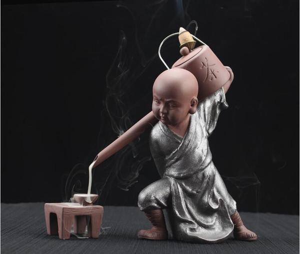 Creative Kung fu Monk Tea Ceremony Ceramics Yixing Aroma Censer Backflow Incense Burner Buddha Purple Clay Pottery Incense Base+10pcs cones