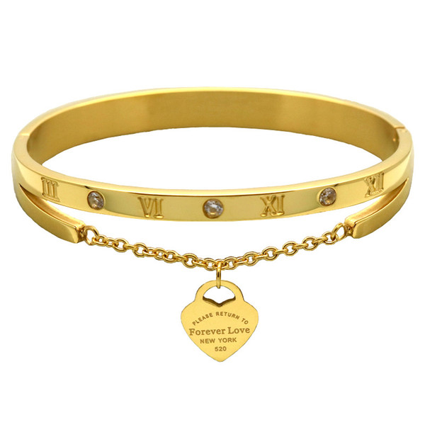 Stainless Steel Roman numerals Heart Charms Gold Bracelet 1pcs drop shipping