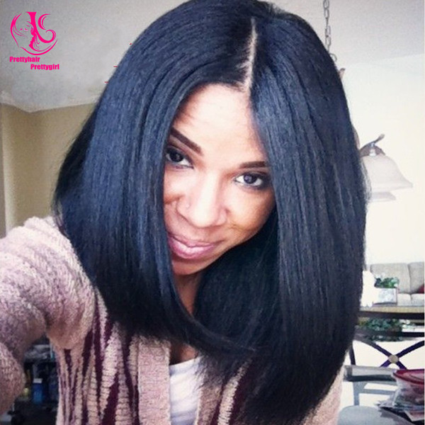 Hot ! Middle part Short Bob wig black wig synthetic lace front wigs heat resistant Glueless wigs very cheap for woman
