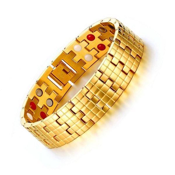 Refined 21.5CM Length Magnetic Bracelet Bangle Gold Color Men's Stainless Steel Care Health Bracelets Free Shipping B876S