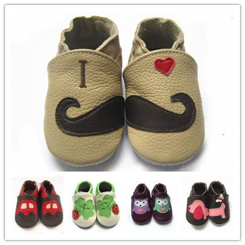 New item Infant Soft Sole Leather Shoes Baby prewalker cute animal pattern Leather moccasin interesting First Walker Shoes 60styles/4size