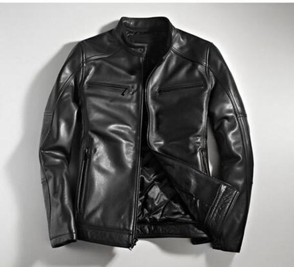 European and American casual fashion brand men's winter Korean version of Nagymaros collar leather jacket motorcycle clothing / M-3XL