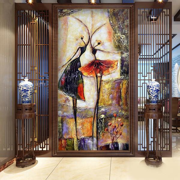 Modern Girls Wallpapers Ballet Dance girl Wallpapers Murals Lovely non-woven Wall Paper for Entrance Hallway papel de parede