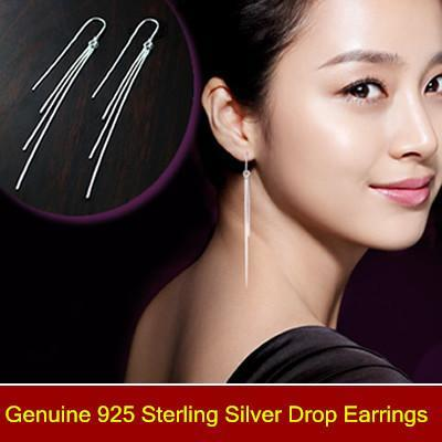 925 sterling silver drop earrings fashion drop earrings Luxury Women long Tassels ,Fashion bridal/Wedding dangle brinco prata Jewlery gift