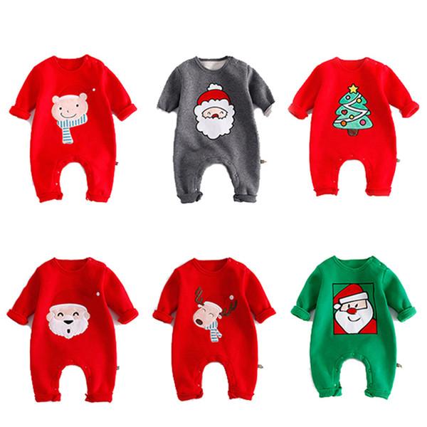 Bébé Hiver Noël Barboteuses Nouveau-Né Infant Toddler Combinaisons À Manches Longues O-cou Animal Imprimer Garçons Filles Vêtements Vêtements 0-24 M