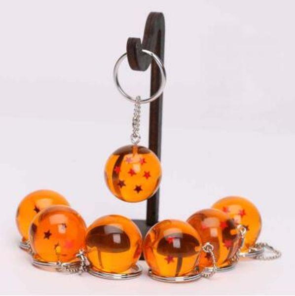 Hot Sale Diameter 2.5cm Dragon Ball Keychain Z 7 Stars Crystal Ball Pendant 1 2 3 4 5 6 7 Star Dragon Ball Keyring 7pcs/lot CCA7048 210pcs