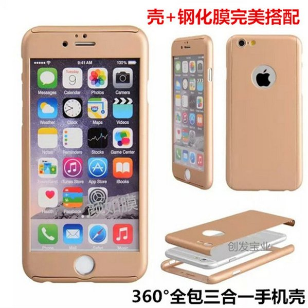 Full body PC case 360 degree front+back ultrathin with screen protector slim armor cases covers for iphone 5 5s 6 6s 7 plus wholesale DHL