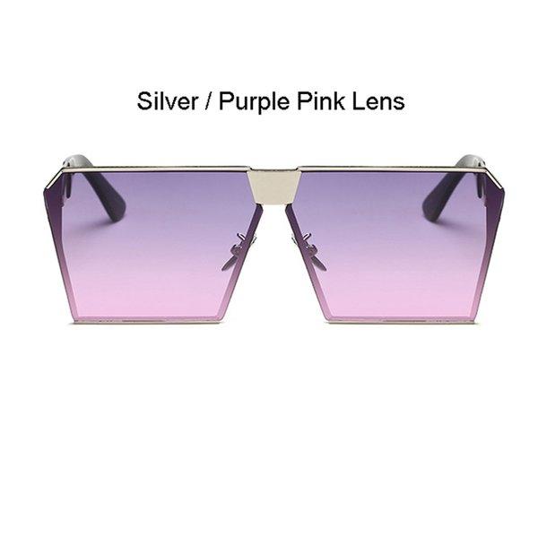 Cadre argenté Violet rose Lens