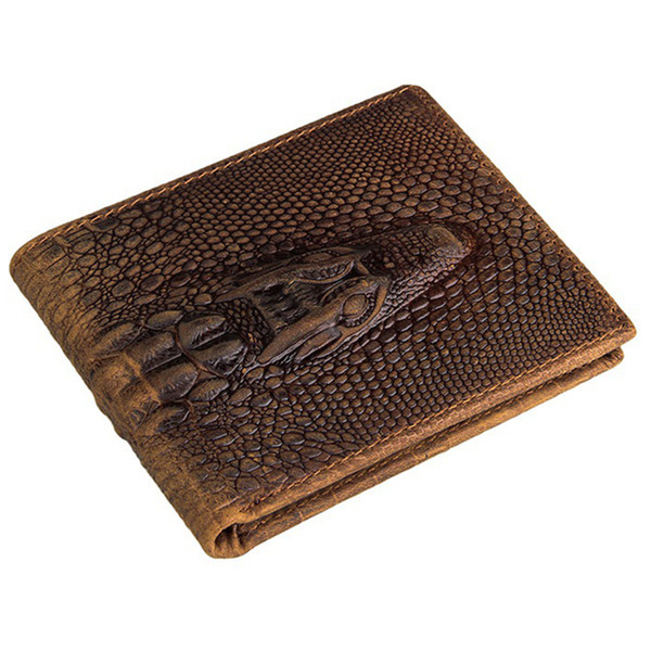 Atacado- Moda carteira de crocodilo bolsa de couro Top Quality mens carteiras de marca de luxo masculino monederos dinheiro louco cavalo bolsas designer