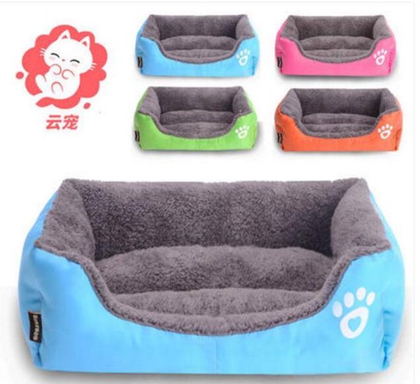 top popular 2017 pet care winter got warm new cute pet blue orange pink choose rectangle shape Poodle dog&cat nest,room, bed house luxury 2pc lot 2020