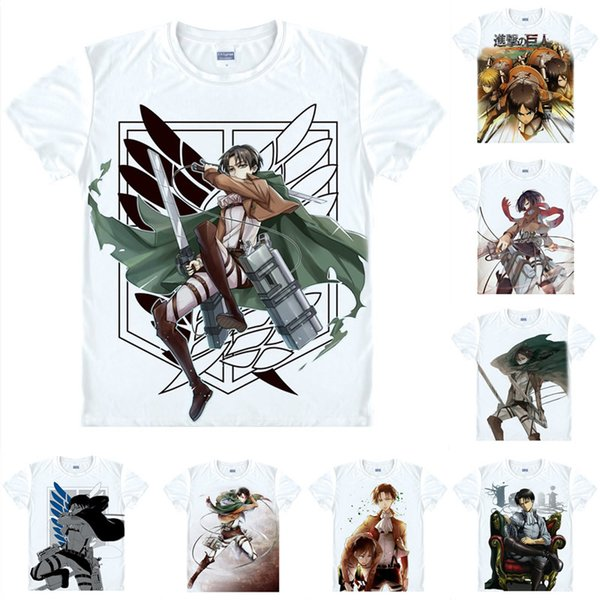 Anime Shirt Attack on Titan T-Shirts Multi-style Short Sleeve Scout Legion Levi Ackerman Cosplay Motivs Hentai Shirts