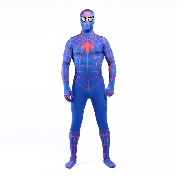 Real Photo 2017 Sexy Blue and Red Lycra Spandex Full Body Zentai Suit Costume Superhero Spider-man Cosplay Costume For Halloween