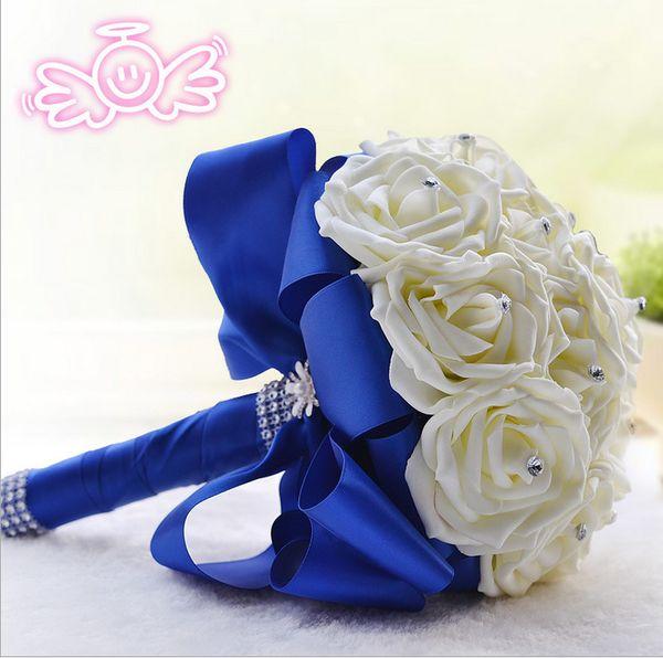 Compre Ramos De Boda Artificiales Nuevo 16 Flores De Marfil Hechas A Mano Cinta Azul Real Aniversario De Bodas Ramo Para Novias 18 20cm A 2563 Del