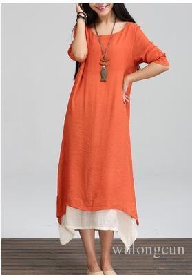 Plus Size Summer Cotton Linen Vintage Dress Women O-Neck Long Sleeve Casual Loose Boho Long Maxi Dresses Vestidos wholesale 2pcs/lot
