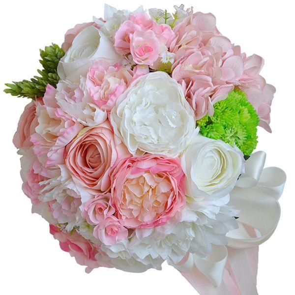 Country Wedding Pink Beach Vintage Wedding Decoration Artificial Bridesmaid Flower Silk Rose 18PCS WF051PK Top Bridal Wedding Bouquet