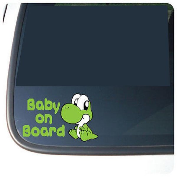"Super Mario Baby Yoshi ""BABY ON BOARD""Vinyl funny Car phone wall stickers Decal window sticker / Color / reflective silver/reflective red /"