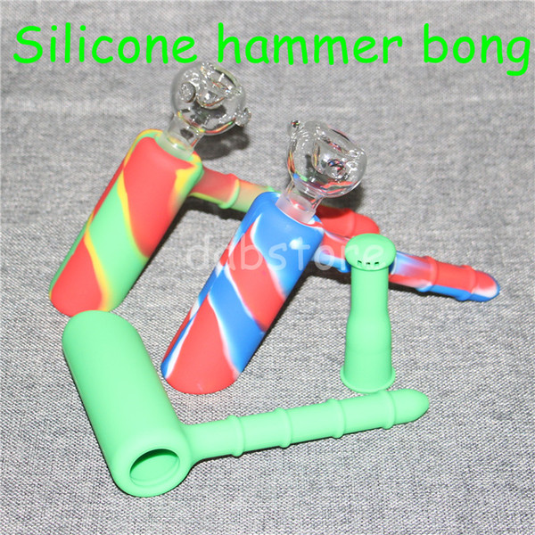 5pcs Hammer Travel Mini Bongs The Martian silicone Blunt Bong Bubbler Joint Smoking Bubble Small Water Pipe Silicone Nectar Collector DHL