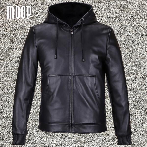 Güz-Siyah hakiki deri ceket ve mont erkek 100% postu kapüşonlu motosiklet ceket ceket veste cuir homme 2 yama cepler LT559