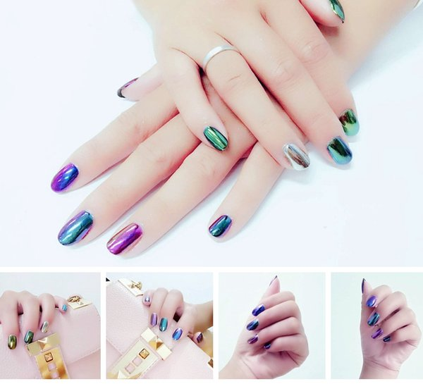 best selling 2016 Newest Hot 2g Mirror Chrome Refective Nail Powder Metallic Nail Polish Effect Glitter Shinning Pigment with 2 Brush Tools Nail Art