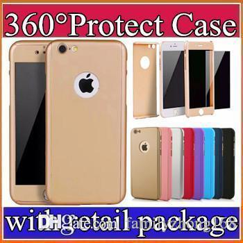 Ultra-thin Hybrid 360 Degree Full Body Coverage Protective Case Cover with Tempered Glass Screen Protector for Apple iPhone 6 6S 7Plus Z-SW
