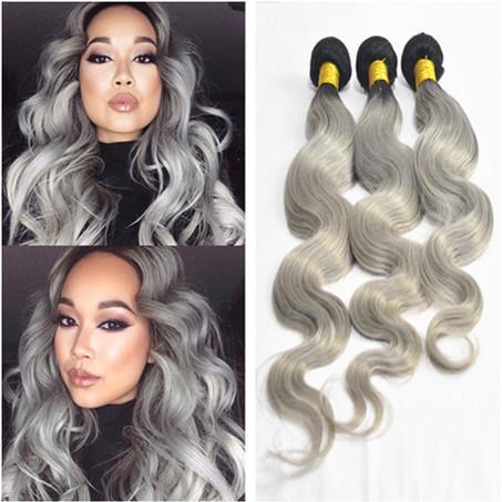 Новое прибытие омбре тела волна волос 3 шт. лот ломбер серебро серый волос ткачество 1B серый два тона ломбер бразильский человеческих волос
